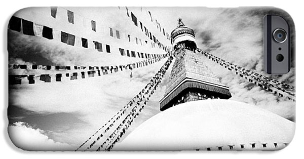 Tibetan Buddhism iPhone Cases - Boudhanath giant buddhist stupa in Kathmandu Himalaya Nepal  iPhone Case by Raimond Klavins