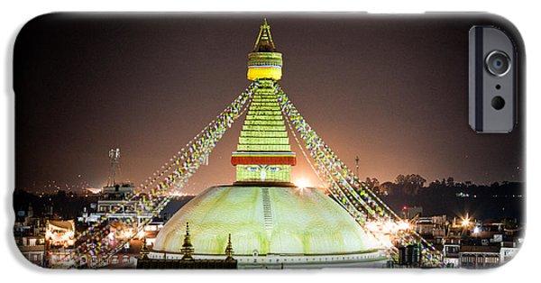 Tibetan Buddhism iPhone Cases - Boudhanath stupa at night in Nepal Kathmandu iPhone Case by Raimond Klavins