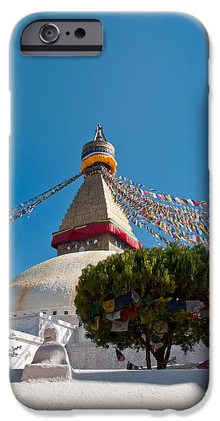 Tibetan Buddhism iPhone Cases - Boudhanath Stupa in the Kathmandu valley in Nepal  iPhone Case by Ulrich Schade