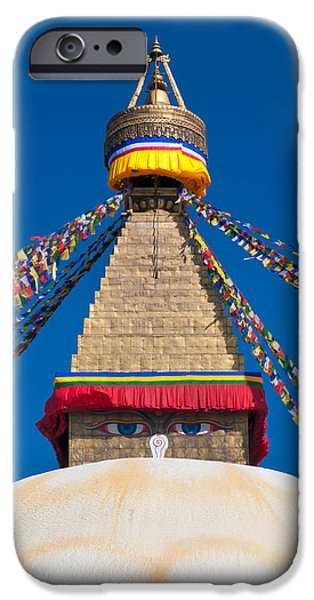 Tibetan Buddhism iPhone Cases - Boudhanath Stupa in the Kathmandu valley iPhone Case by Ulrich Schade