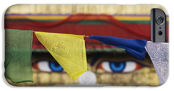 Tibetan Buddhism iPhone Cases - Boudhanath Stupa Prayer Flags iPhone Case by Tim Gainey