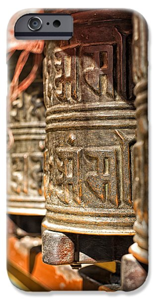 Tibetan Buddhism iPhone Cases - Boudhanath temple bells  iPhone Case by Ulrich Schade