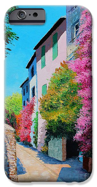 Pathway iPhone Cases - Bougainvillea in Grimaud iPhone Case by Jean-Marc Janiaczyk