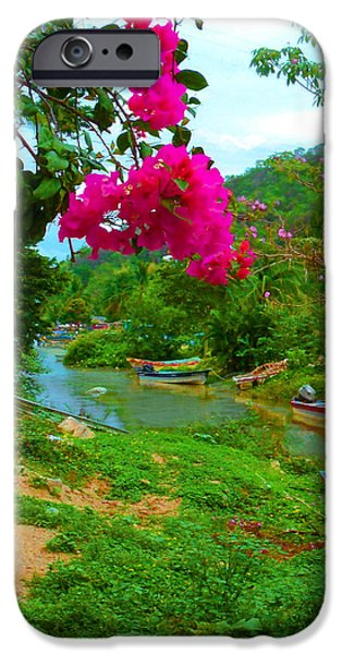 Canoe iPhone Cases - Bouganvilla Watches Over Village Fishing Boats in Mexico iPhone Case by ARTography by Pamela  Smale Williams