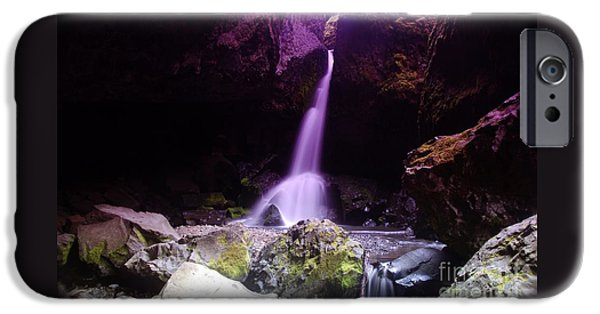 River iPhone Cases - Boulder Cave Falls  iPhone Case by Jeff  Swan