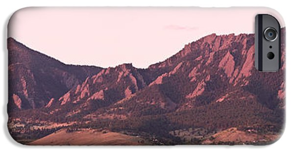 Decoration iPhone Cases - Boulder Colorado Flatirons 1st Light Panorama iPhone Case by James BO  Insogna