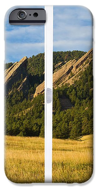 Boulder Colorado Flatirons White Window Frame Scenic View iPhone Case by James BO  Insogna