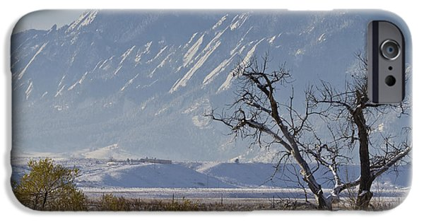 Snowy Day iPhone Cases - Boulder Colorado Snowy Front Range View iPhone Case by James BO  Insogna
