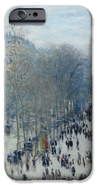 Impressionist Photographs iPhone Cases - Boulevard Des Capucines, 1873-4 Oil On Canvas iPhone Case by Claude Monet