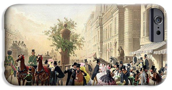 Coach iPhone Cases - Boulevard Des Italiens, From Physionomies De Paris, 1856 Colour Litho iPhone Case by Eugene Charles Francois Guerard