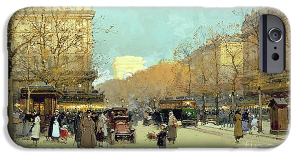 Nineteenth iPhone Cases - Boulevard Haussmann in Paris iPhone Case by Eugene Galien-Laloue