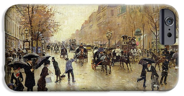 Umbrella Photographs iPhone Cases - Boulevard Poissonniere In The Rain, C.1885 Oil On Canvas iPhone Case by Jean Beraud