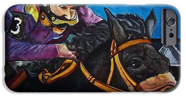 Horse Racing Pastels iPhone Cases - Bouncing Betty iPhone Case by Nelson Vargas