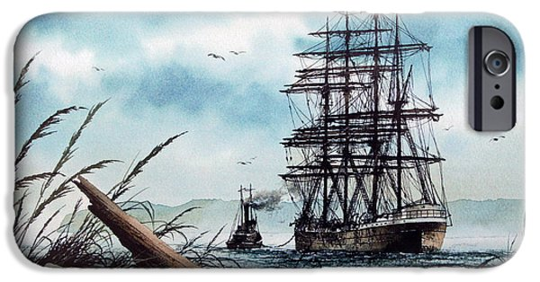 Sailing Ship Framed Prints iPhone Cases - Bound for Blue Water iPhone Case by James Williamson