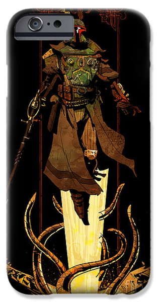 War iPhone Cases - Bounty Hunter Rising iPhone Case by Brian Kesinger
