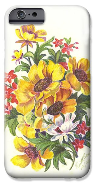 Flora Drawings iPhone Cases - Bouquet 4 iPhone Case by Ruth Seal