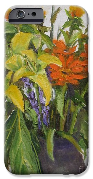 Garden Scene Paintings iPhone Cases - Bouquet iPhone Case by Mohamed Hirji