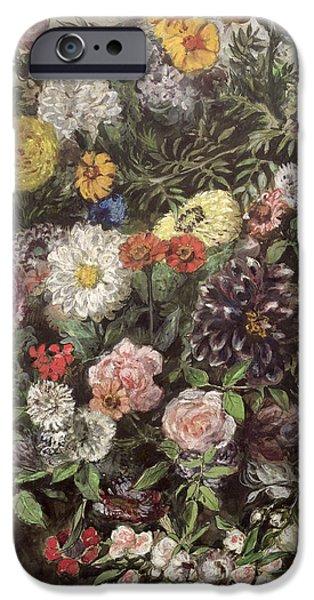 Delacroix iPhone Cases - Bouquet of Flowers iPhone Case by Ferdinand Victor Eugene Delacroix