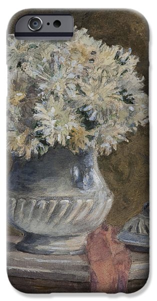 Interior Still Life iPhone Cases - Bouquet Of Flowers Wc On Paper iPhone Case by Henri Duhem