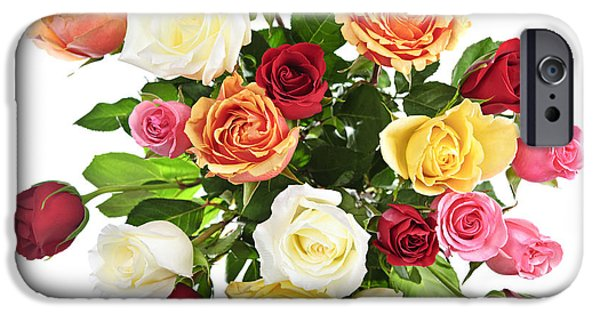 Rose iPhone Cases - Bouquet of roses from above iPhone Case by Elena Elisseeva