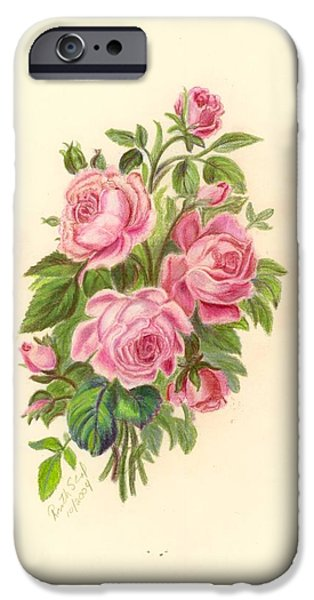 Flora Drawings iPhone Cases - Bouquet of Roses iPhone Case by Ruth Seal