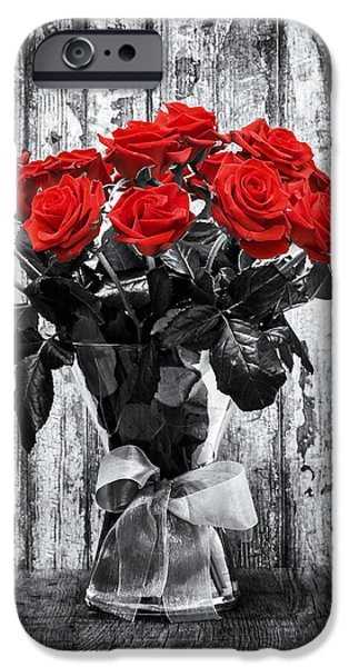 Selective Color iPhone Cases - Bouquet of Roses iPhone Case by Wim Lanclus