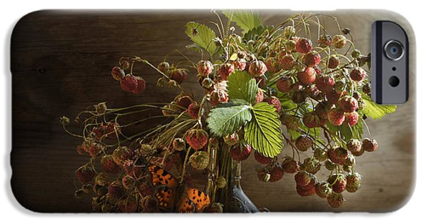 Berry Pyrography iPhone Cases - Bouquet of strawberries iPhone Case by Valerii Chalykh
