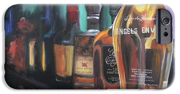Barrel Paintings iPhone Cases - Bourbon Bar iPhone Case by Donna Tuten