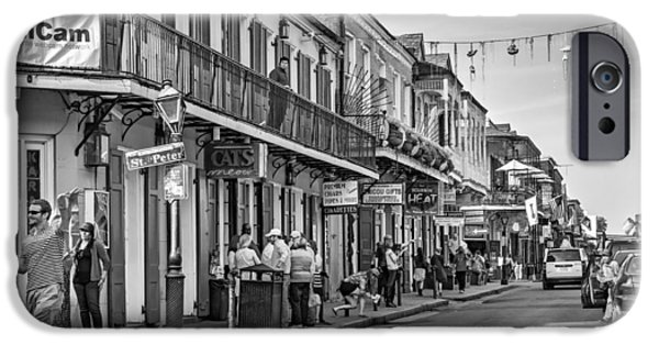 New Attitudes iPhone Cases - Bourbon Street Afternoon bw iPhone Case by Steve Harrington