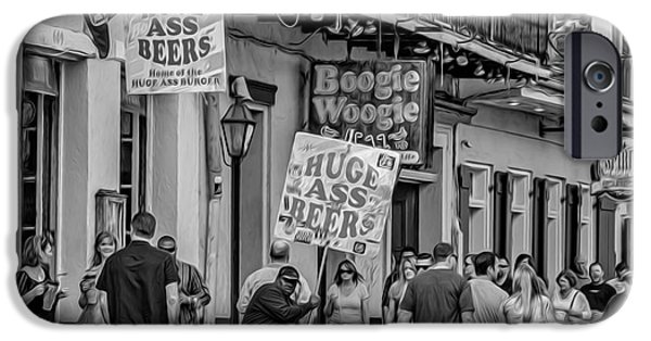 New Attitudes iPhone Cases - Bourbon Street - Let the Good Times Roll bw iPhone Case by Steve Harrington
