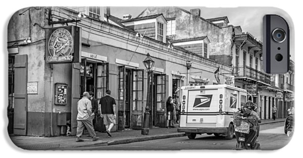 Delivery Truck iPhone Cases - Bourbon Street - Let the Party Begin BW iPhone Case by Steve Harrington