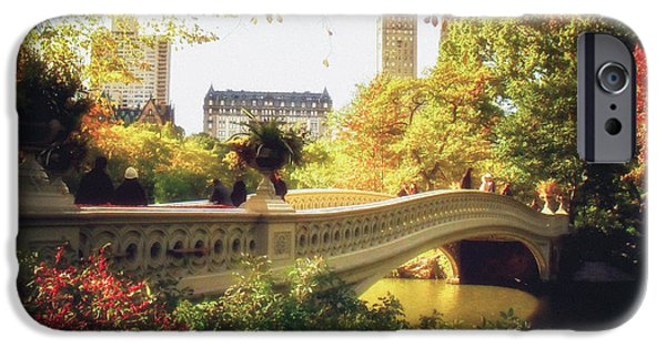 Autumn Trees iPhone Cases - Bow Bridge - Autumn - Central Park iPhone Case by Vivienne Gucwa