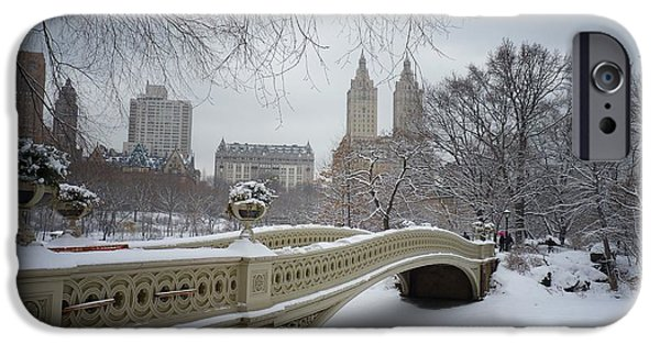 Nyc iPhone Cases - Bow Bridge Central Park in Winter  iPhone Case by Vivienne Gucwa