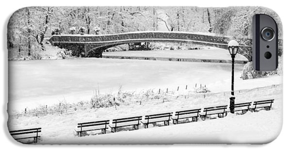 Recently Sold -  - Snow iPhone Cases - Bow Bridge Central Park Winter Wonderland BW iPhone Case by Susan Candelario