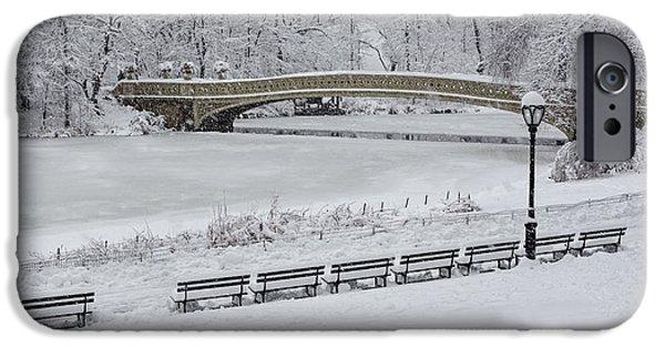 Bow Bridge iPhone Cases - Bow Bridge Central Park Winter Wonderland iPhone Case by Susan Candelario