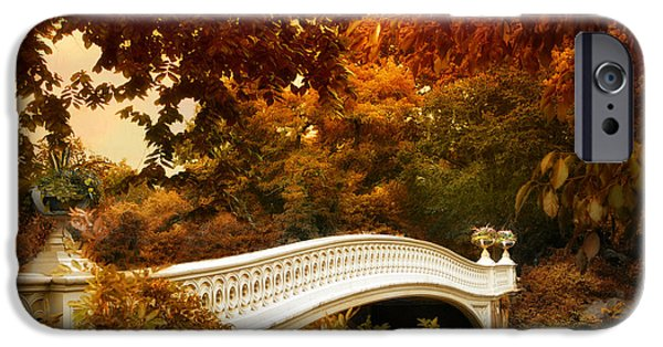 Autumn Digital iPhone Cases - Bow Bridge Fall Fantasy iPhone Case by Jessica Jenney