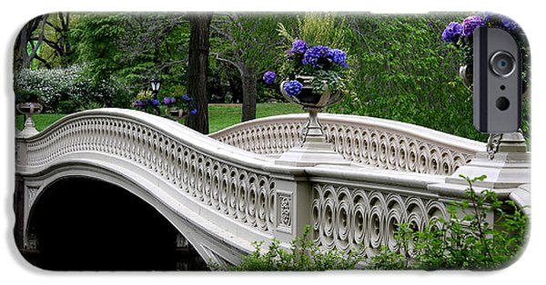 Summer iPhone Cases - Bow Bridge Flower Pots - Central Park N Y C iPhone Case by Christiane Schulze Art And Photography