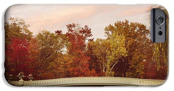 Bow Bridge iPhone Cases - Bow Bridge in Autumn iPhone Case by Irene Suchocki