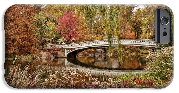 Bow Bridge iPhone Cases - Bow Bridge in Autumn iPhone Case by June Marie Sobrito