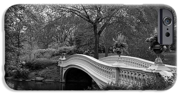 Botanical Photographs iPhone Cases - Bow Bridge NYC In Black and White iPhone Case by Christiane Schulze Art And Photography