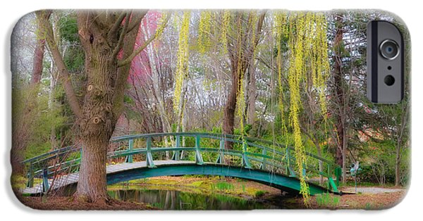 Bow Bridge iPhone Cases - Bow Bridge under the Willow iPhone Case by Bill Cannon