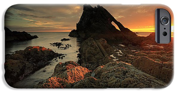 North Sea iPhone Cases - Bow Fiddle rock sunrise iPhone Case by Grant Glendinning