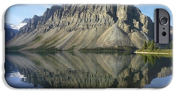 Mountains iPhone Cases - Bow Lake And Crowfoot Mts Banff iPhone Case by Tim Fitzharris