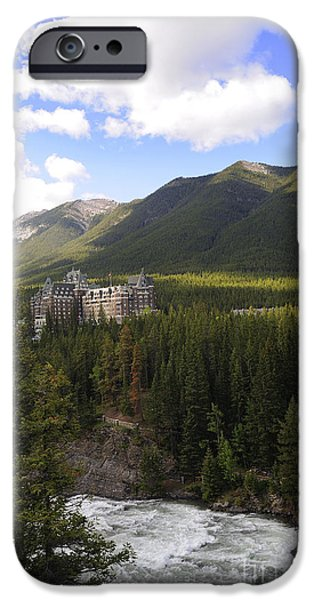 Pines iPhone Cases - Bow River in Banff iPhone Case by Brenda Kean