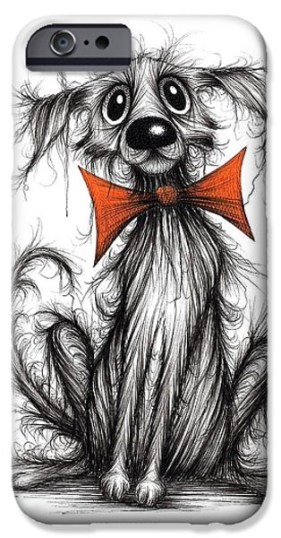 Dirty Drawings iPhone Cases - Bow tie Barry iPhone Case by Keith Mills