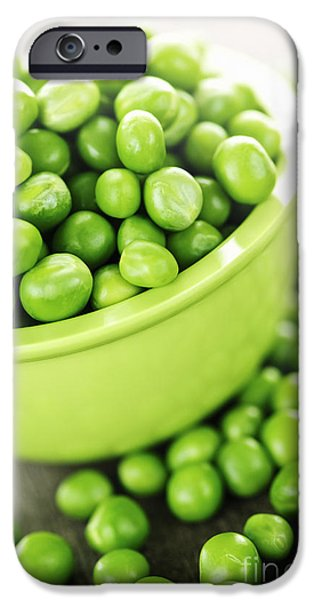 Organic Foods iPhone Cases - Bowl of green peas iPhone Case by Elena Elisseeva