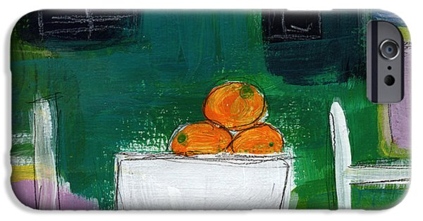 Interior Still Life iPhone Cases - Bowl of Oranges- Abstract Still Life Painting iPhone Case by Linda Woods