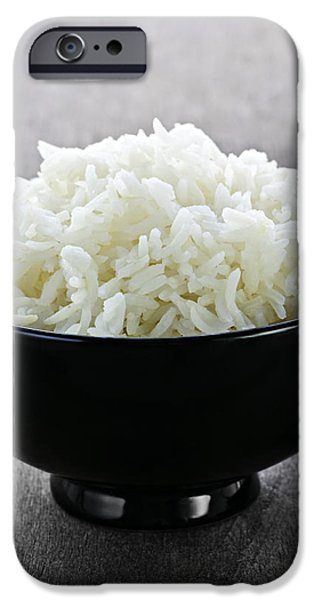 Bowl of rice with chopsticks iPhone Case by Elena Elisseeva