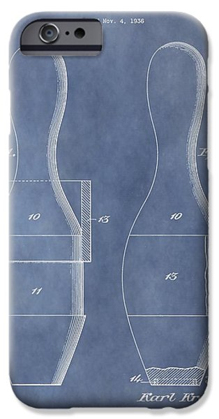 Alley Mixed Media iPhone Cases - Bowling Pin Patent iPhone Case by Dan Sproul