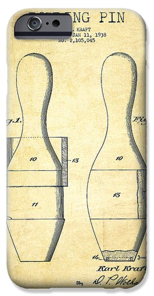 Bowling iPhone Cases - Bowling Pin Patent Drawing from 1938 - Vintage iPhone Case by Aged Pixel